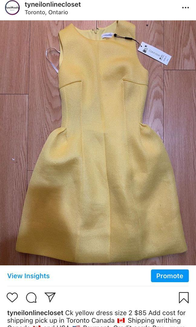 Ck yellow dress size 2