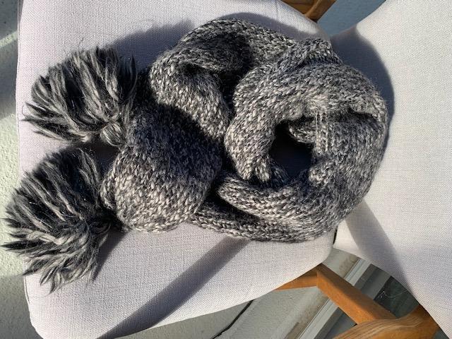 DVF Sparkly Wool Scarf with Pom Pom on Sale!