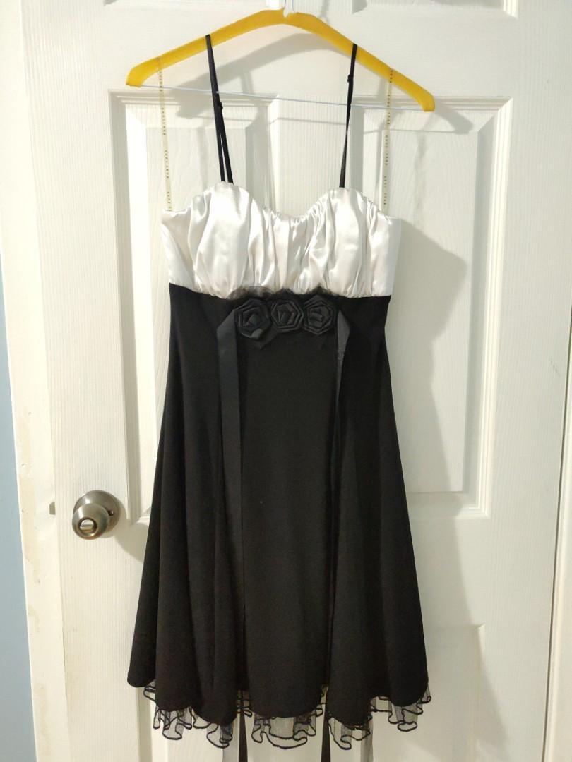 formal black & white dress