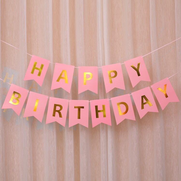 Happy Birthday Pink Banner Gantungan Ulang Tahun