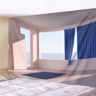 小預算佈置術北歐海邊窗景裝飾牆壁掛布壁畫直播背景微裝潢IG風網紅拍照