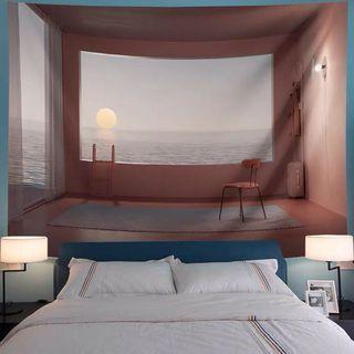 (現貨) 小預算佈置術北歐海景裝飾牆壁掛布壁畫直播背景微裝潢IG風網紅拍照