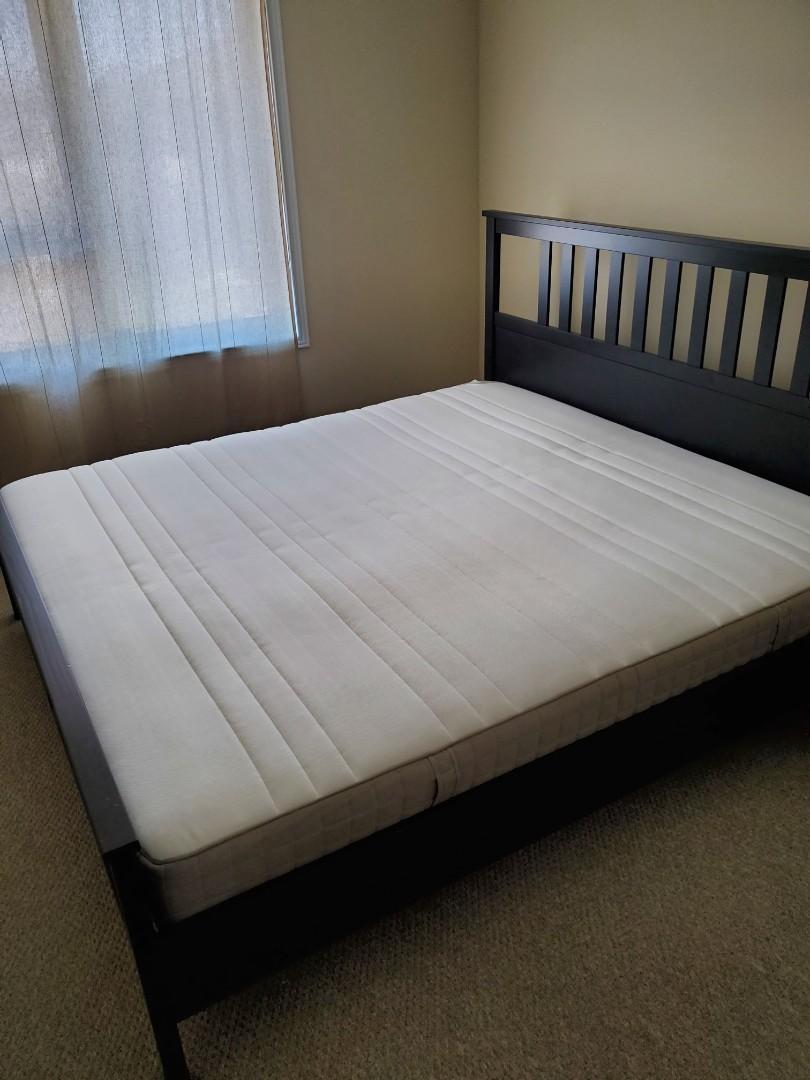 IKEA HEMNES Bed frame and HAUGESUND Mattress, Queen size