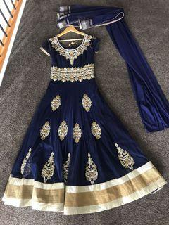 Indian dress with tights and veil size 8-10