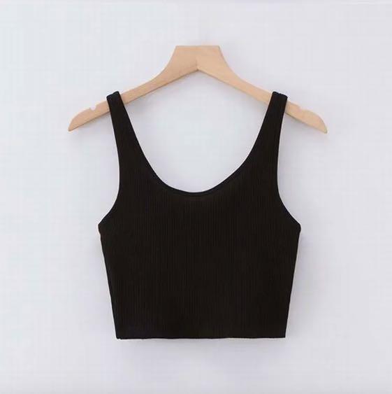 ✨Plain Black Crop Tank Top Cami Shirt