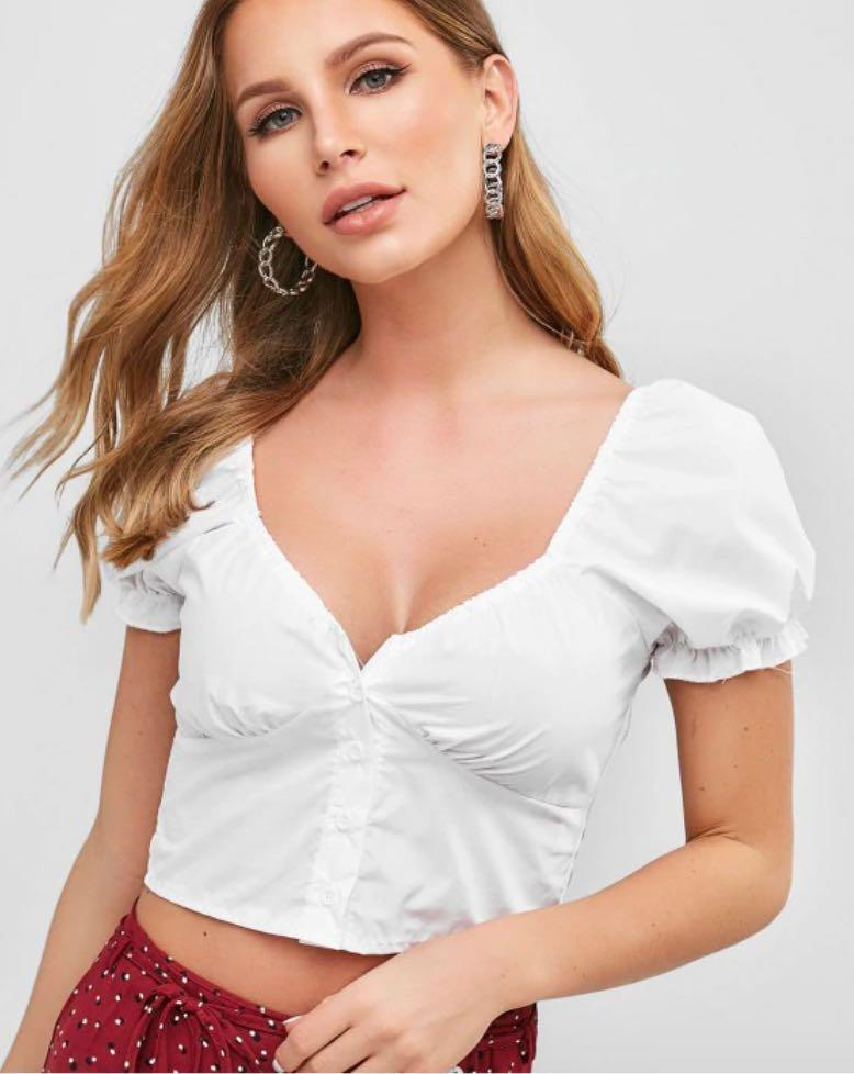 ✨White Smoked Back Button Crop Top Puff Sleeve Blouse