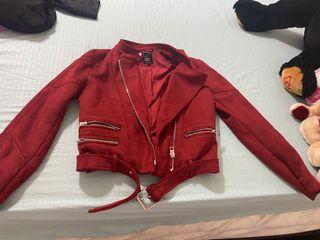 Zara M Suede Jacket Red