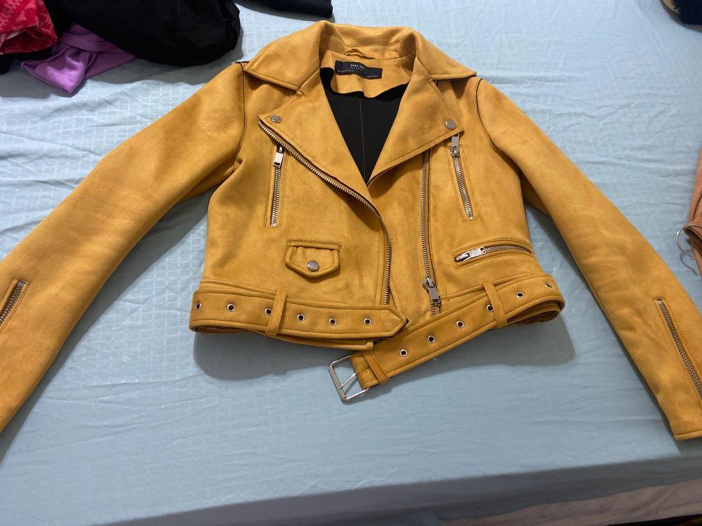 Zara XS Suede Jacket yellow