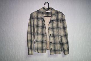 復古格紋西裝外套