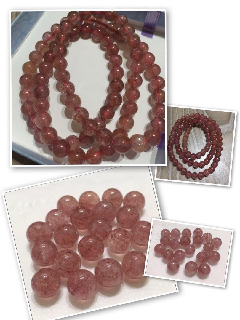 🎊超值組合下單免運❤️招愛情、人緣-草莓晶三圈手珠 ➕ 天然草莓晶圓珠  9mm 20顆(約20g)