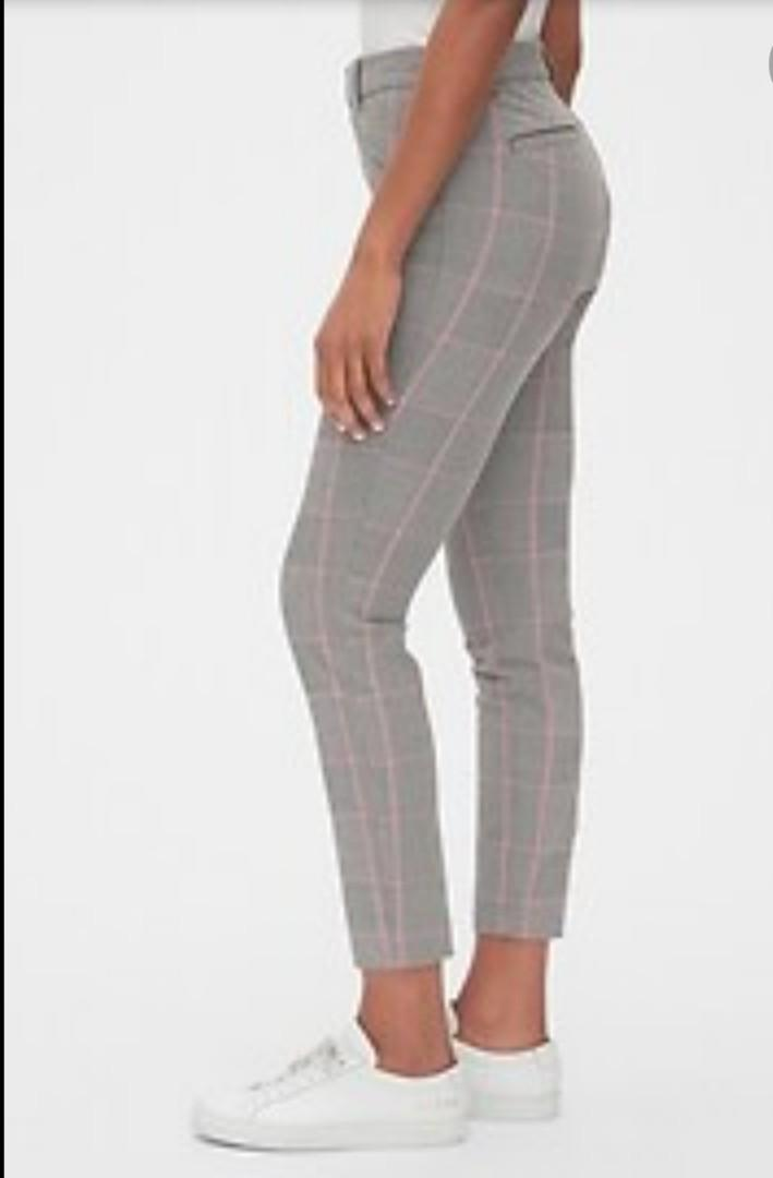 BNWT Gap Grey and Pink Plaid Pants