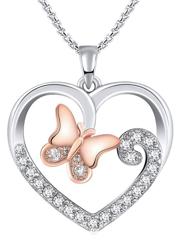 Brand new  Love Heart Butterfly Pendant Necklaces