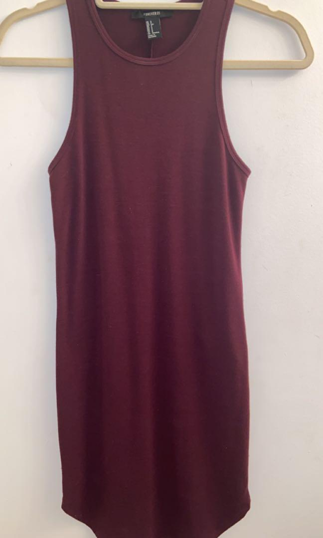 forever 21 maroon body con dress