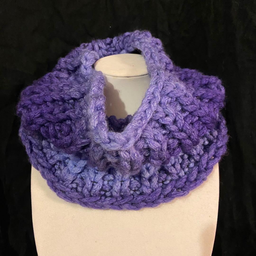 Handmade purple ombre neck cowl scarf