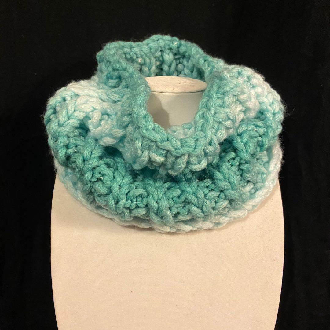 Handmade teal ombre neck cowl scarf