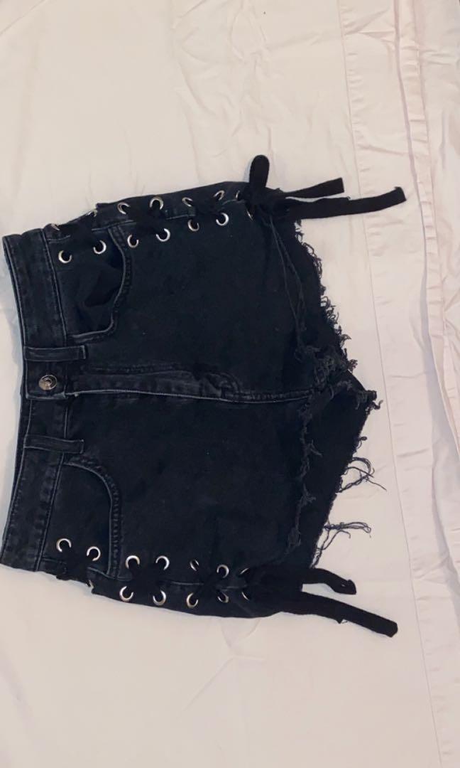 h&m black denim shorts with ties