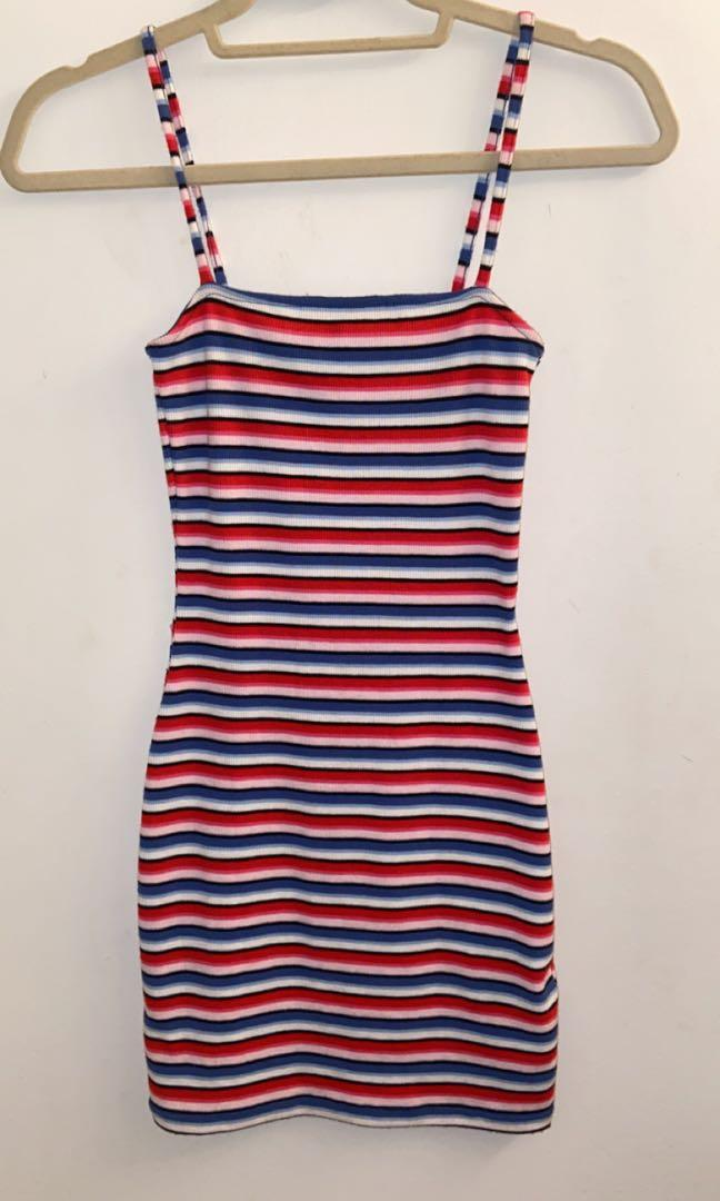 h&m striped summer body con dress