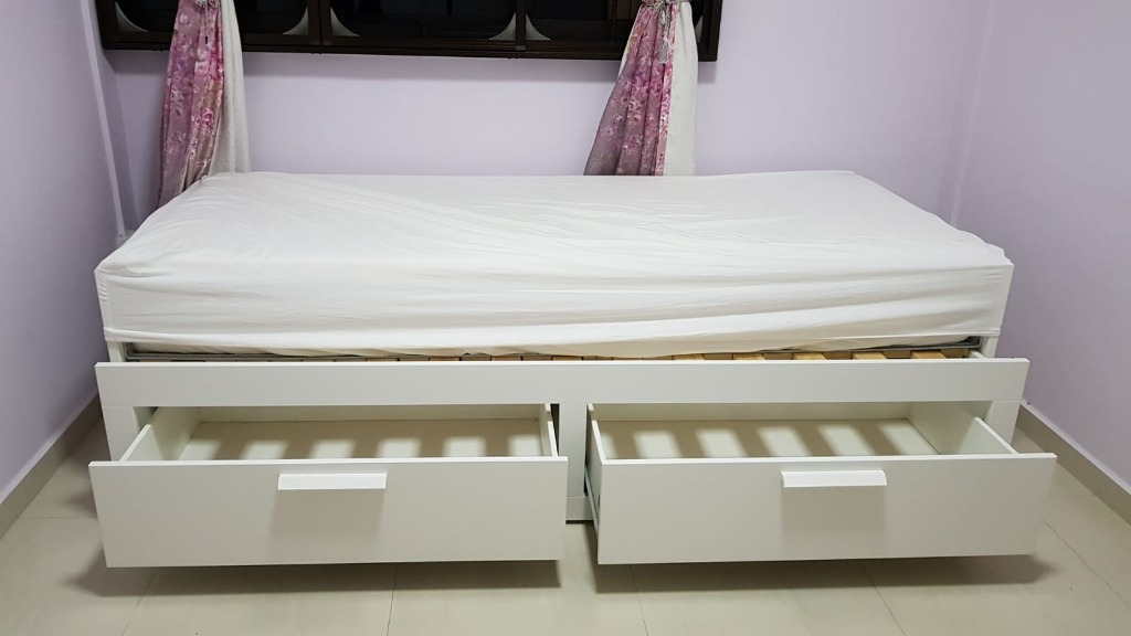 Ikea Brimnes Day Bed With Mattress Furniture Beds Mattresses On Carousell