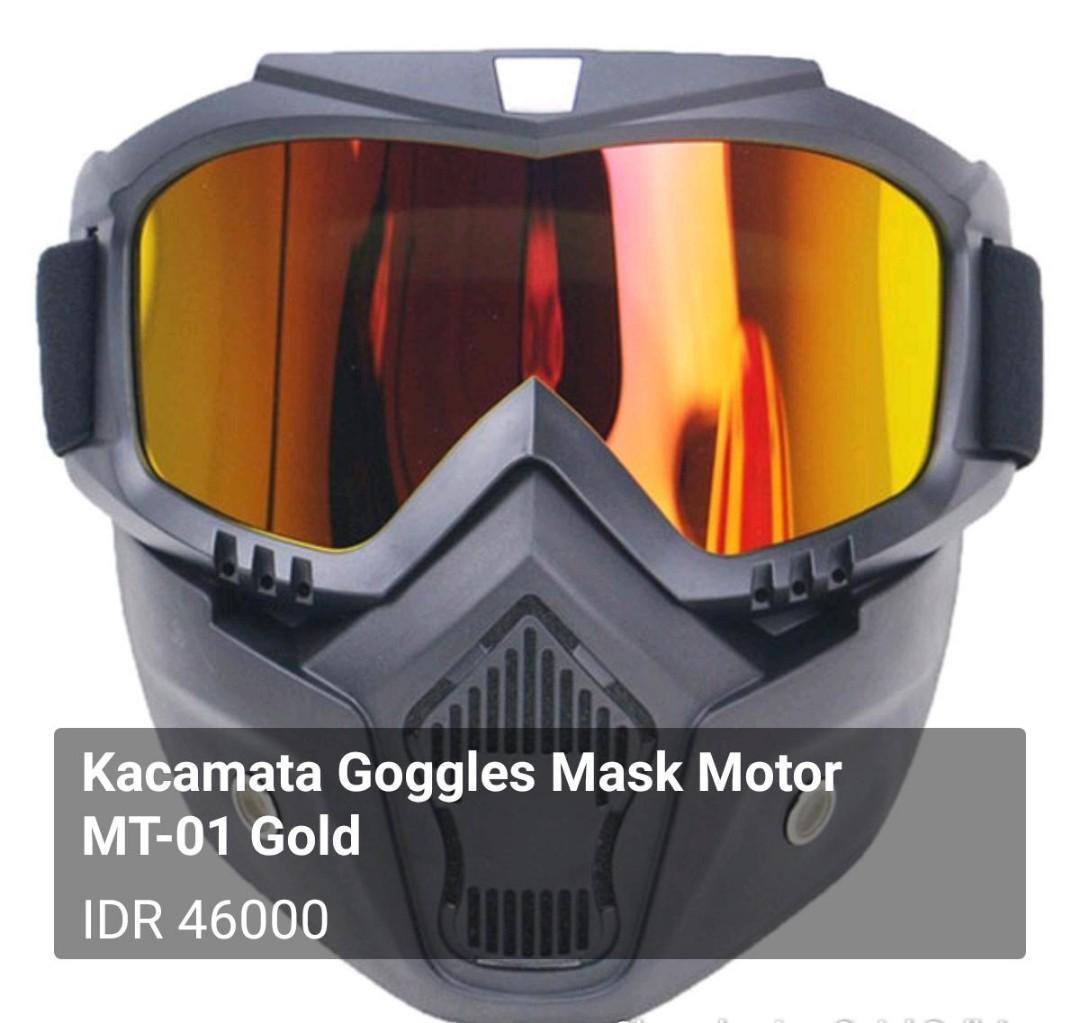 Kacamata Goggles Mask Motor MT-01 Gold