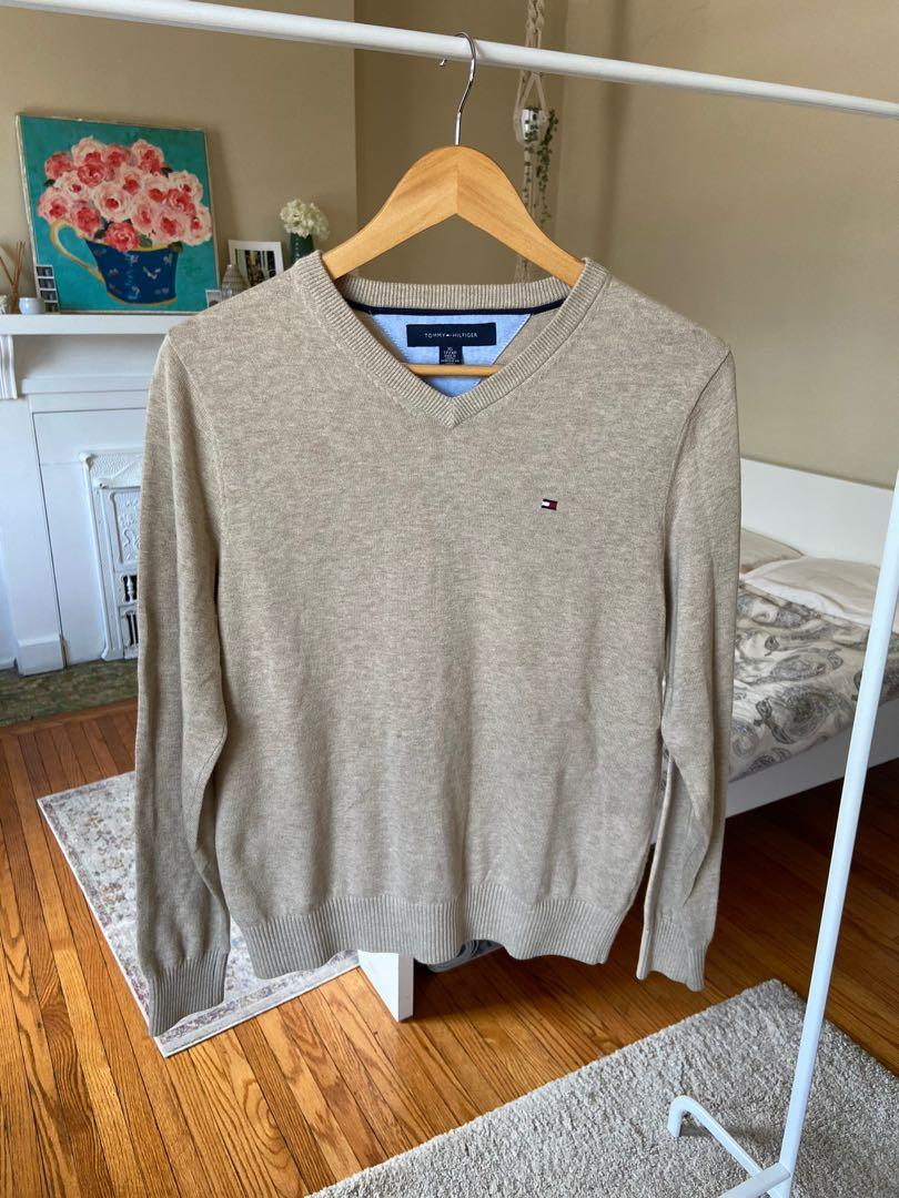 Tommy Hilfiger Beige V-Neck Sweater