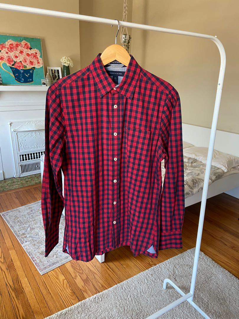 Tommy Hilfiger Custom Fit Red Checkered Button Up Shirt