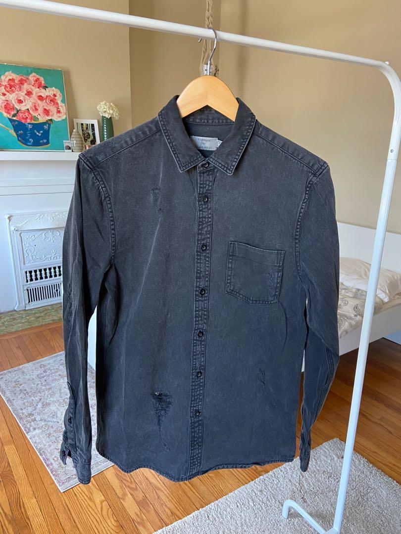 Topman Black Distressed Shirt