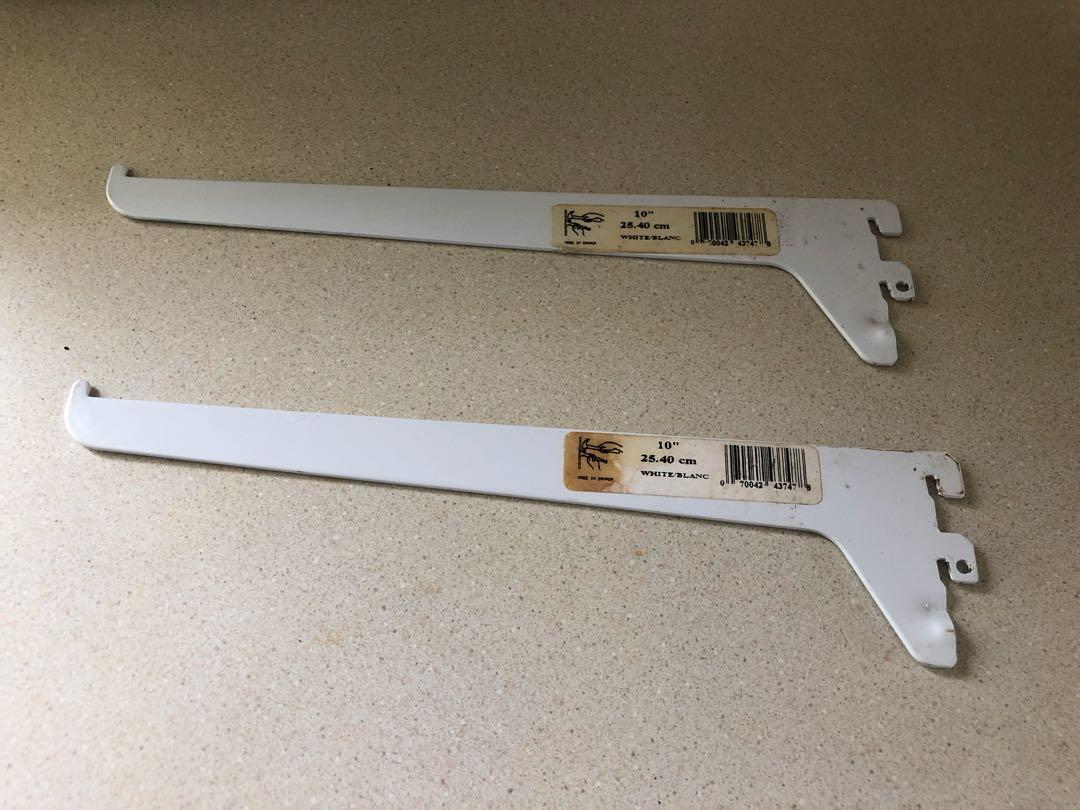 """10 Pieces (5 sets of 2) White 10"""" single Brackets"""