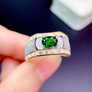 天然 巴西 透輝石 男戒  戒指 火光佳 森林綠 滿鑲 微鑲 晶體通透 精工鑲嵌