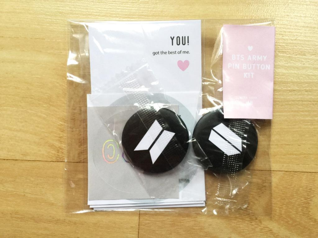 BTS ARMY Pin Button + Stickers Gift Kit
