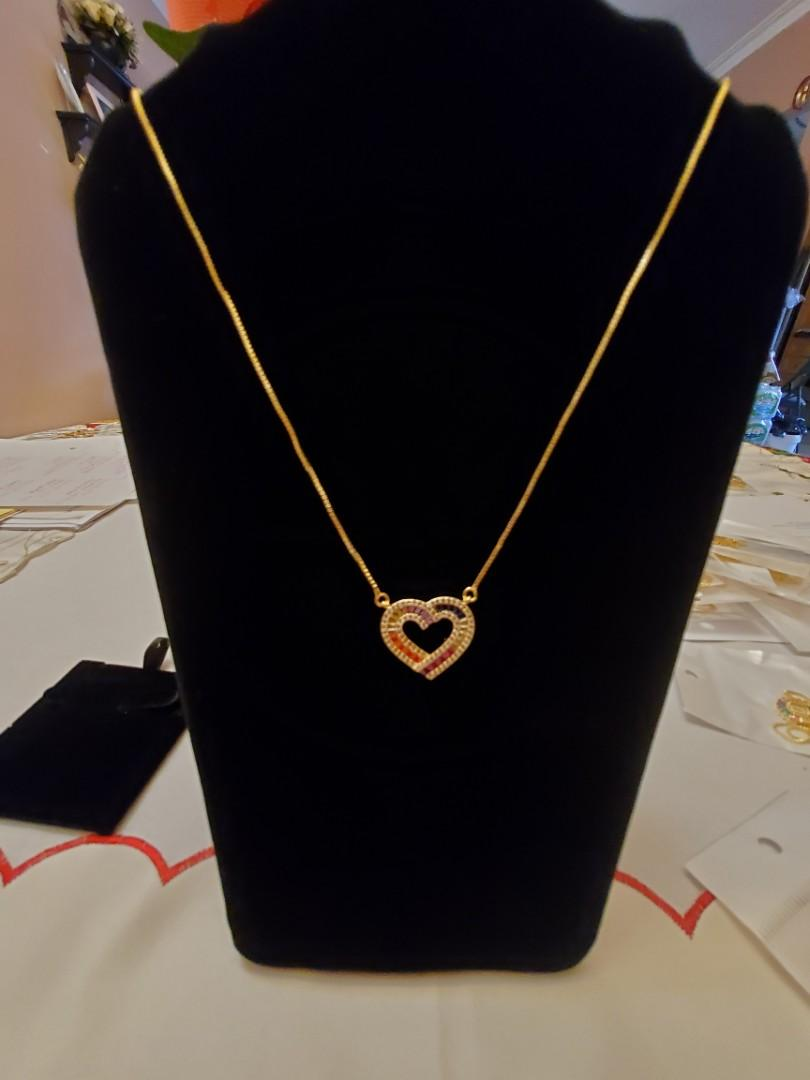 Heart Necklace with Gems