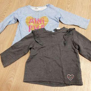 二手H&M女寶長袖上衣兩件