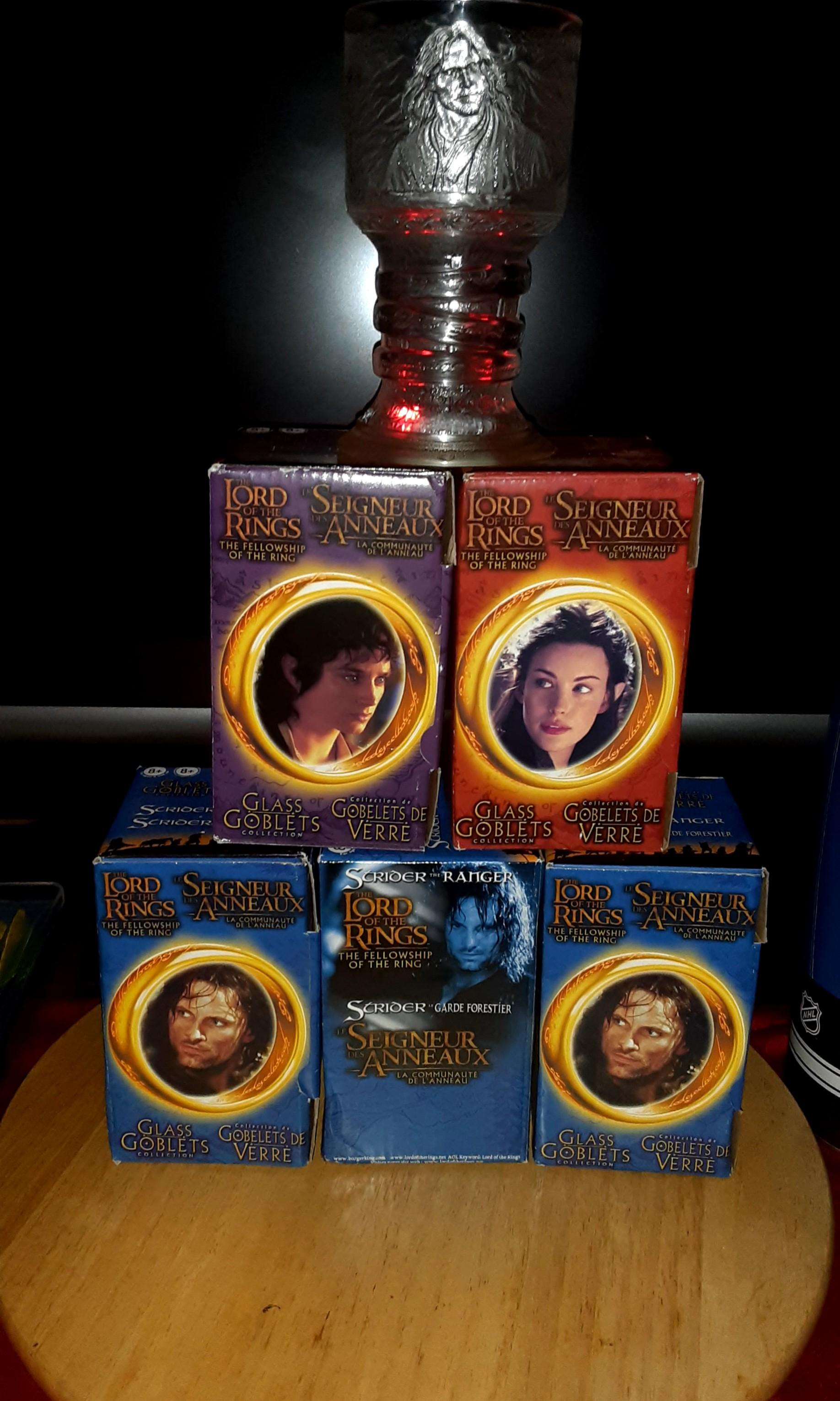 Lord of the Rings collectible goblets