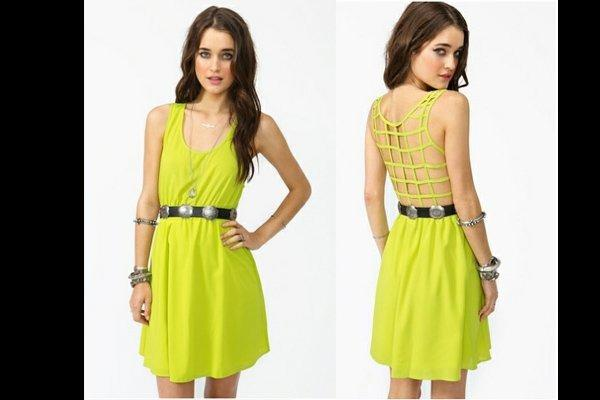 Nasty Gal Open Caged Back Lime Green Dress