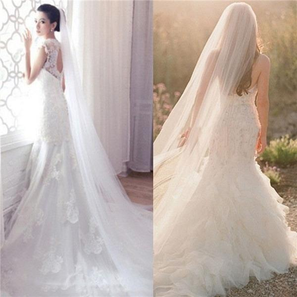 NEW Really long white or ivory veil with comb, 300cm.