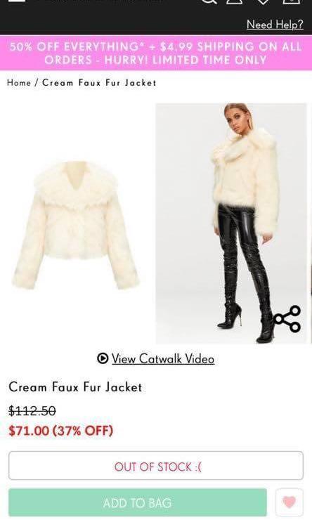 Pretty little thing cream faux fur jacket