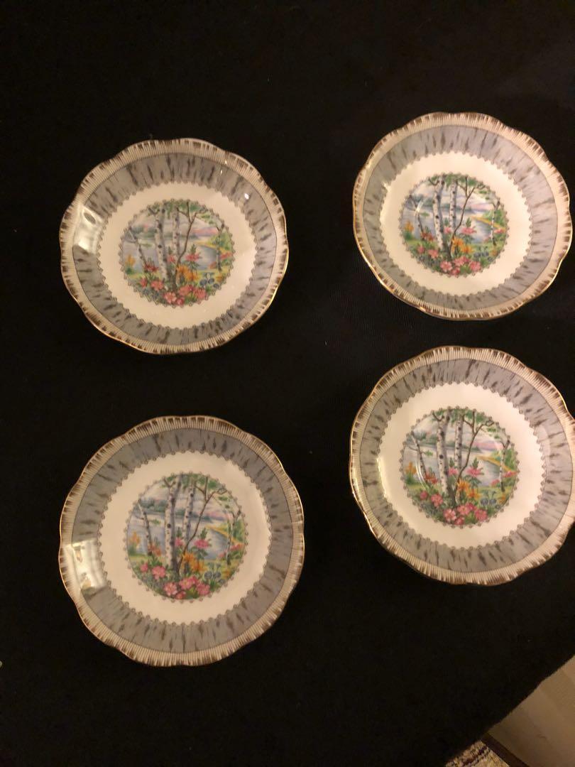 Set of 4 Royal Albert Silver Birch fruit nappies