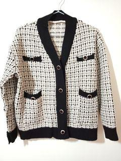 【超新~】韓國同款經典小香風千鳥格黑白針織外套