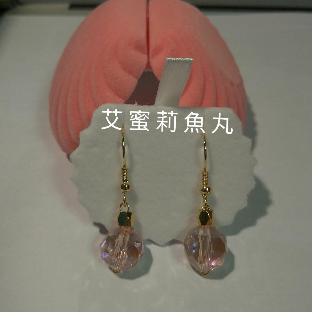 閃亮亮粉色耳環