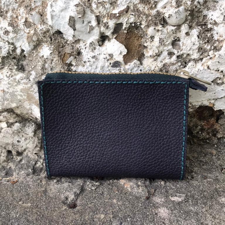 深藍色-皮革拉鍊零錢包