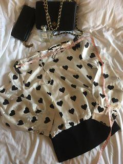 Black and white heart top