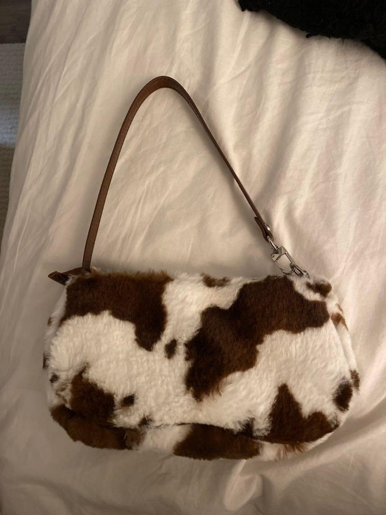 fluffy cow print mini purse