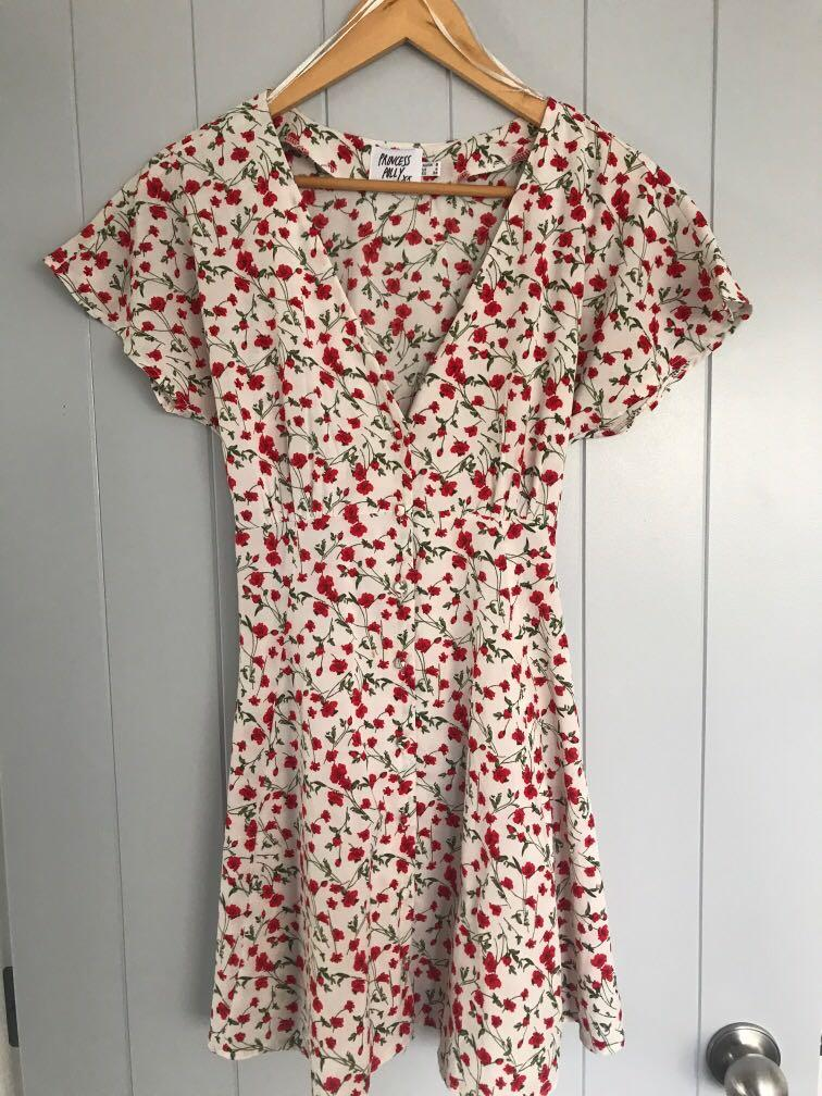 Princess Polly summer floral dress, button up front