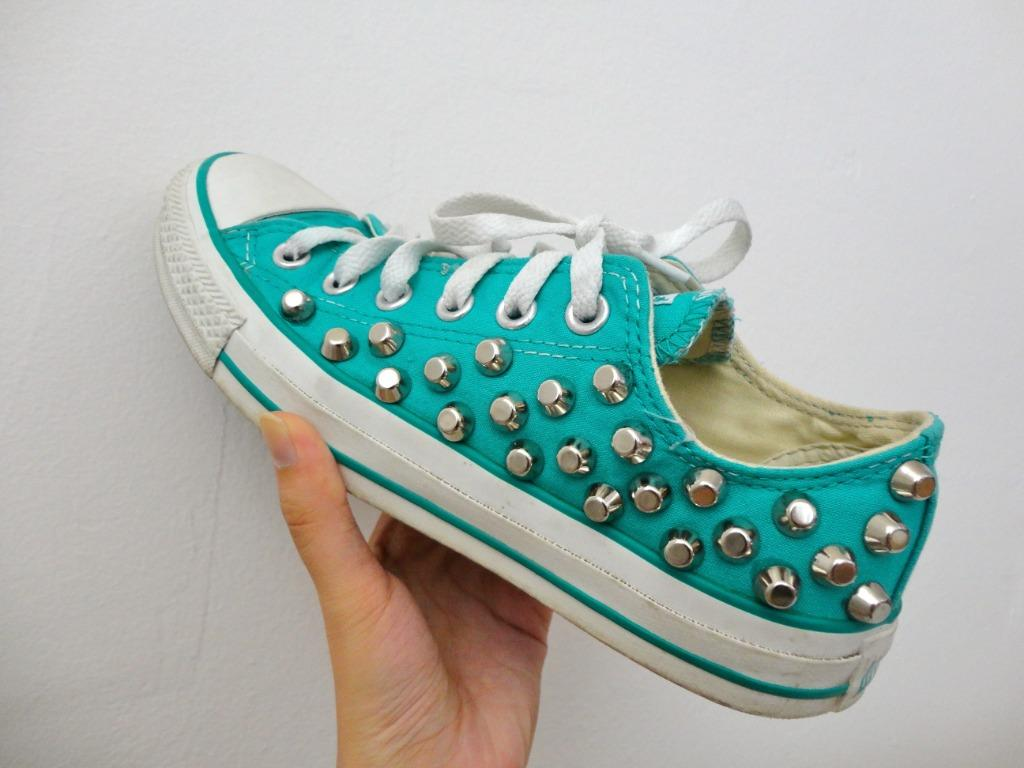 Teal Studded Converse Size 7.5 Women's