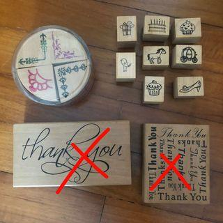 Wooden stamp sets corner, thank you, cute cupcakes etc