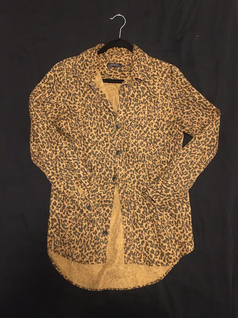 ZARA Chambray Button Front Shirt