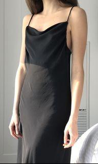 Zara silk slip dress (black)