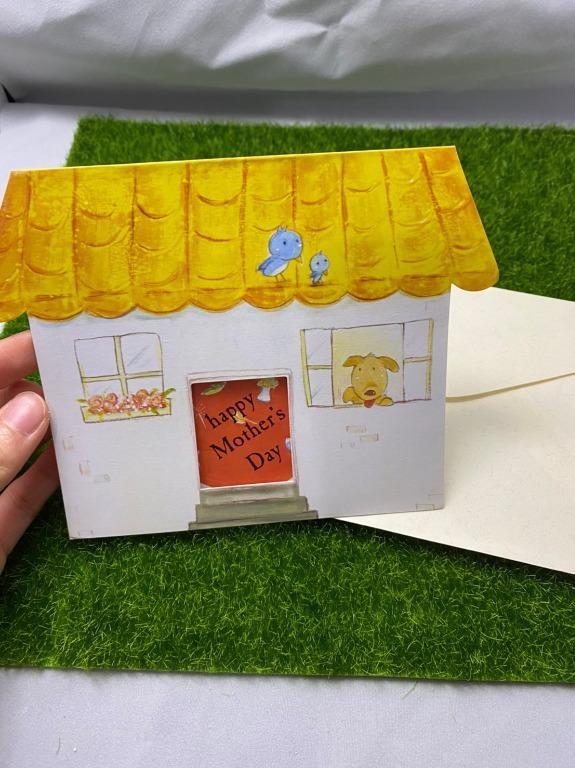 <全新>水彩手繪風格黃色小房子狗狗型卡片