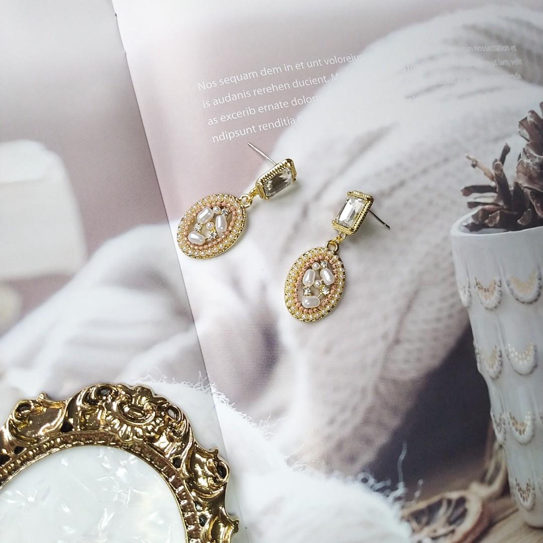 巴洛克復古寶石珍珠耳環