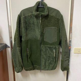 軍綠色拼接外套 刷毛粒絨