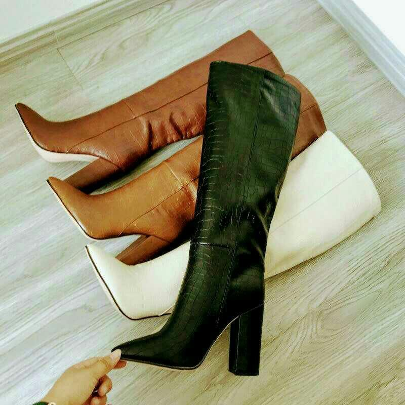 Band Designer Faux Leather Women Knee High Boots Pointed Toe Boots Women Long Chunky Block High Heel Boots Black Apricot Brown